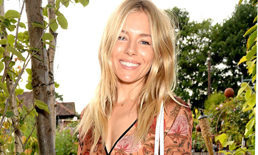 Sienna Miller in kimono dress at Farms Not Factories charity banquet